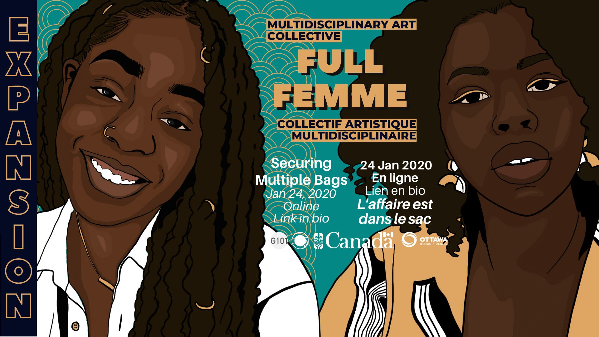 Expansion presents: Securing Multiple Bags workshop by Full Femme. Event graphic featuring illustrations of the two Black facilitators