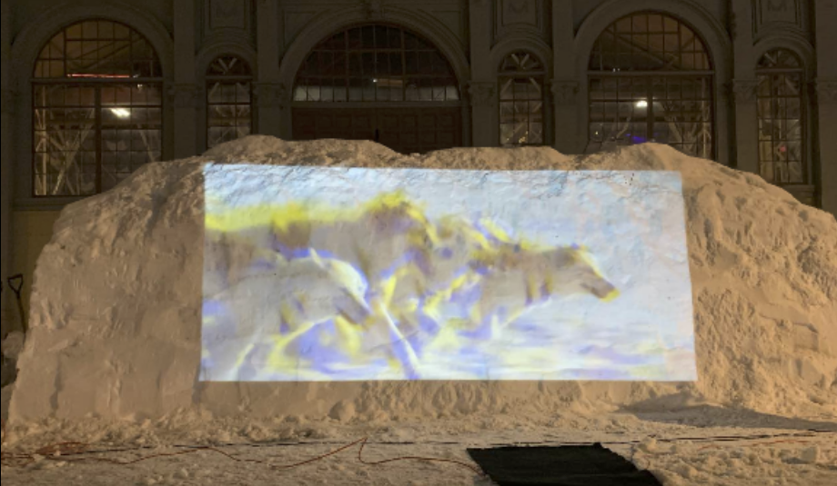 A tall snow bank with a video of a pack of wolves being projected on to it.
