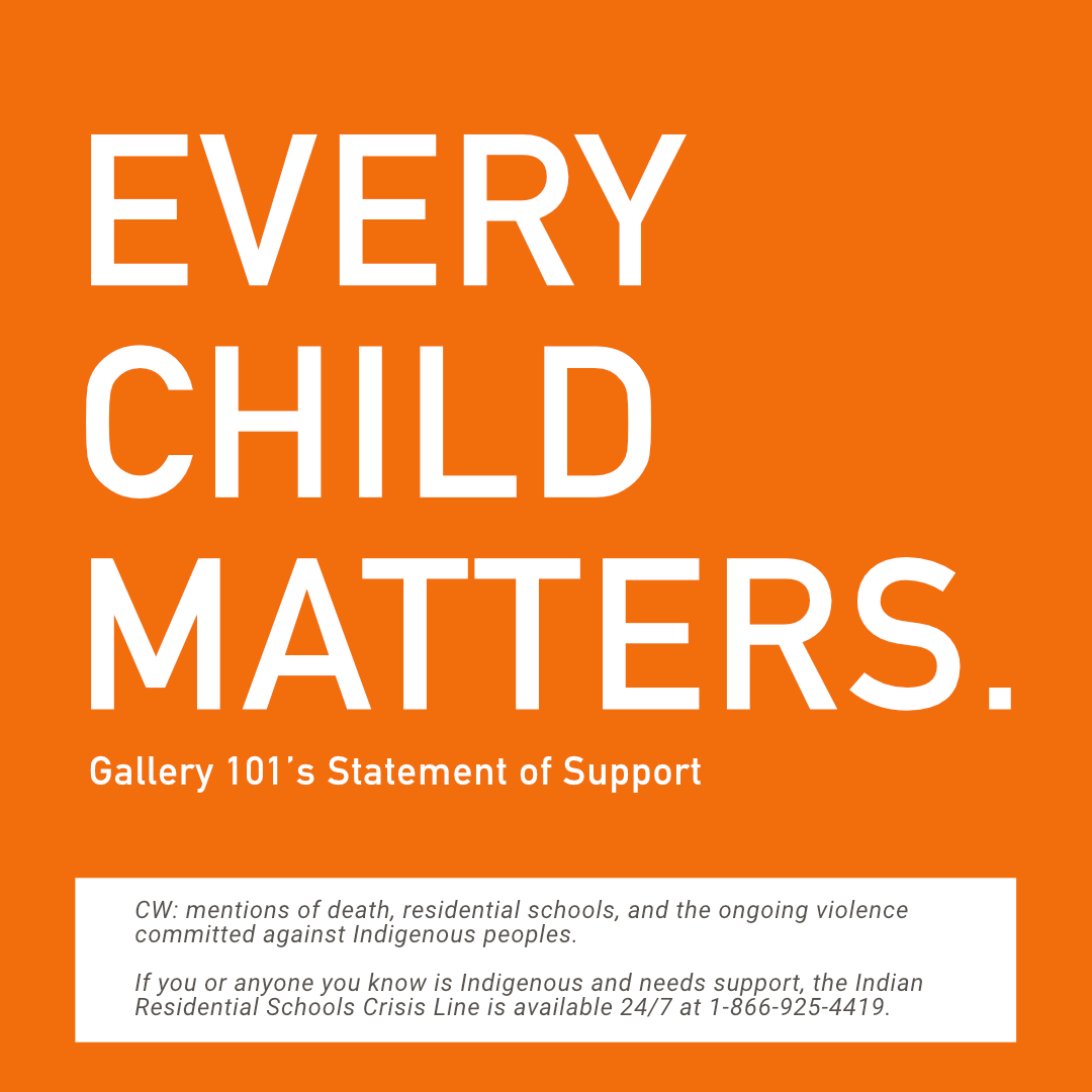 Orange square with white text that reads: Every Child Matters. G101's Statement of Support