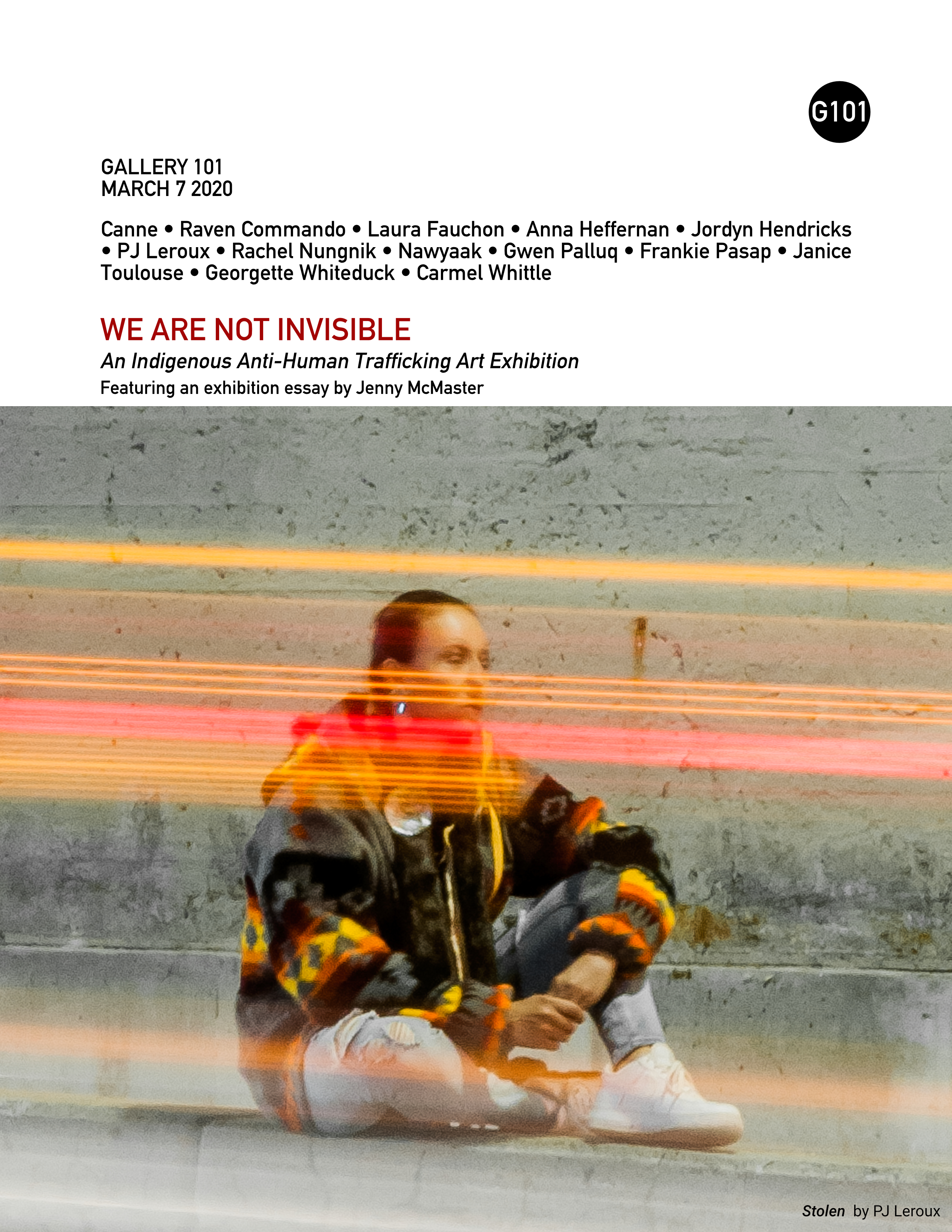 Cover of exhibiton catalog for We Are Not Invisible, featuring Stolen by PJ Leroux